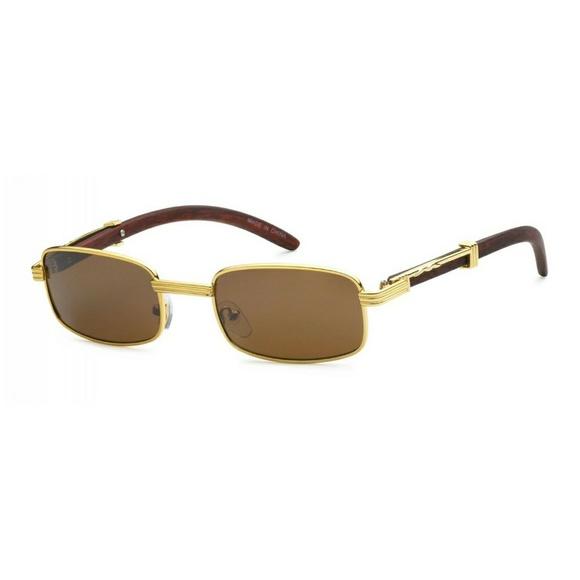 7769a6ea23555 Unisex Faux Wood Gold Frame Sunglasses